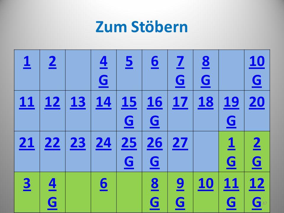 Zum Stöbern 1. 2. 4. G. 5. 6. 7. 8. 10. 11. 12. 13. 14. 15. 16. 17. 18. 19. 20. 21.