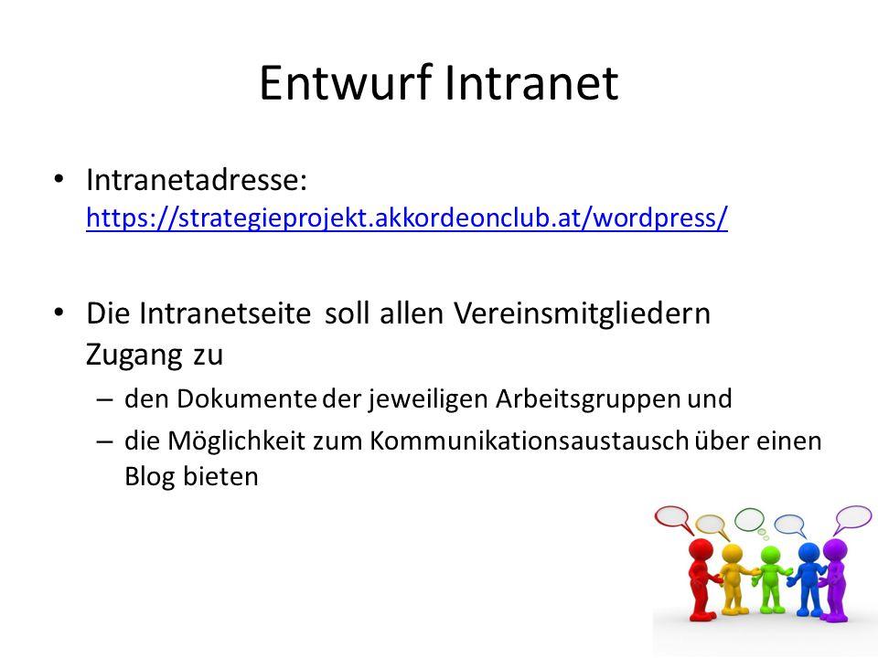 Entwurf Intranet Intranetadresse: https://strategieprojekt.akkordeonclub.at/wordpress/ Die Intranetseite soll allen Vereinsmitgliedern Zugang zu.
