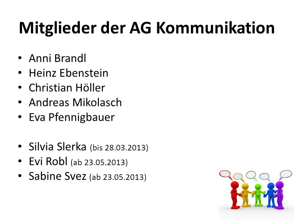 Mitglieder der AG Kommunikation