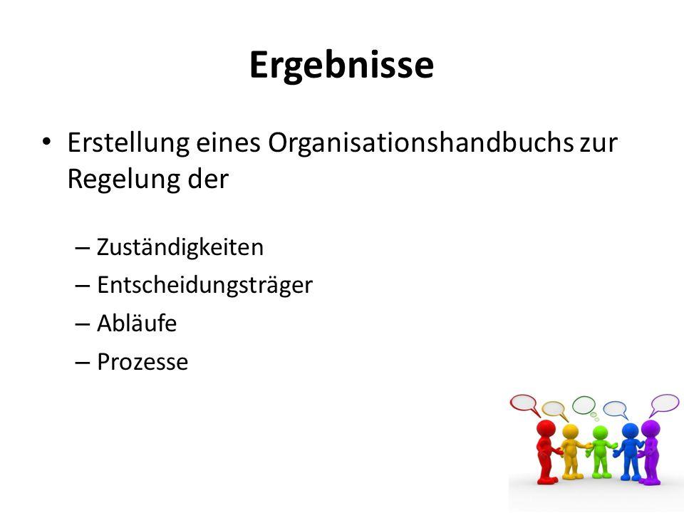 Ergebnisse Erstellung eines Organisationshandbuchs zur Regelung der