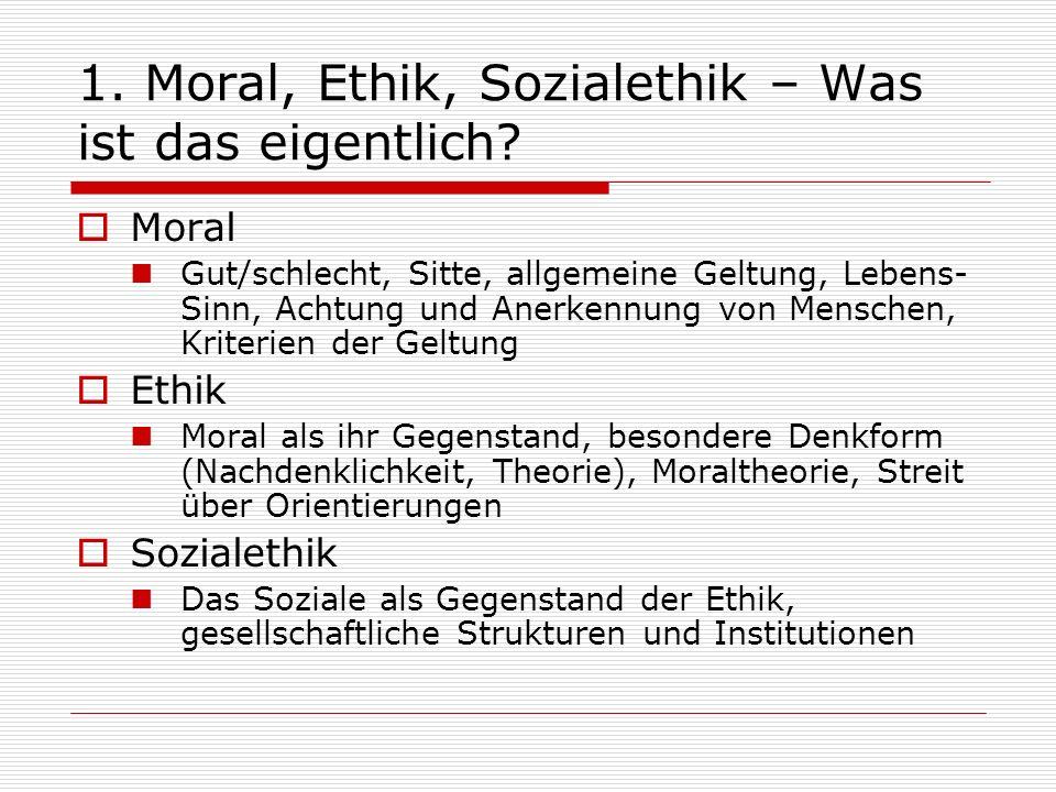 1. Moral, Ethik, Sozialethik – Was ist das eigentlich