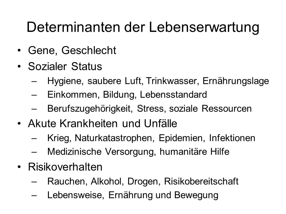 Determinanten der Lebenserwartung