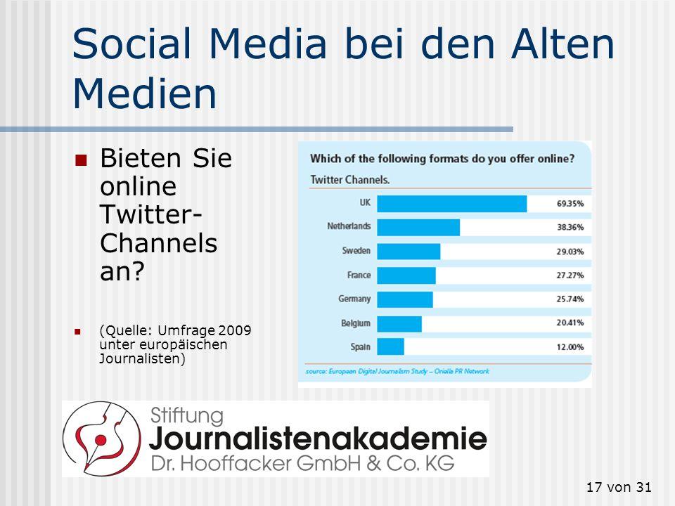 Social Media bei den Alten Medien