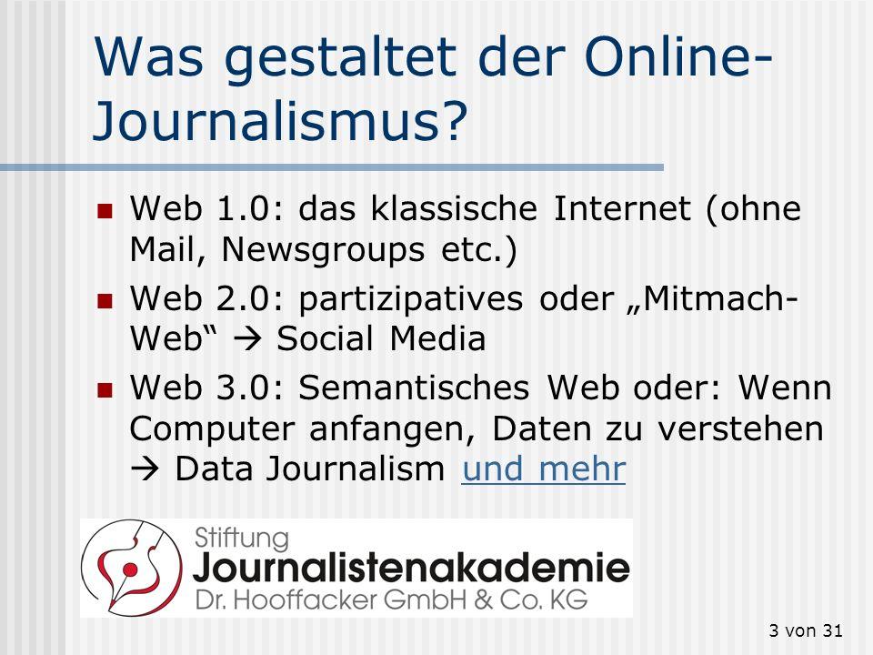 Was gestaltet der Online-Journalismus