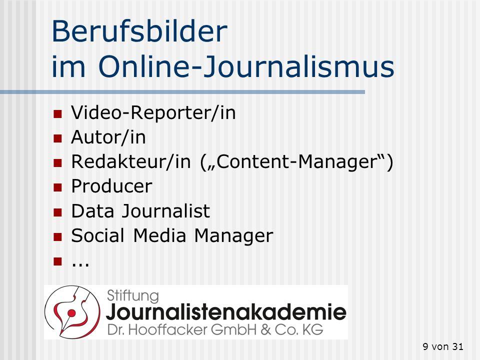 Berufsbilder im Online-Journalismus