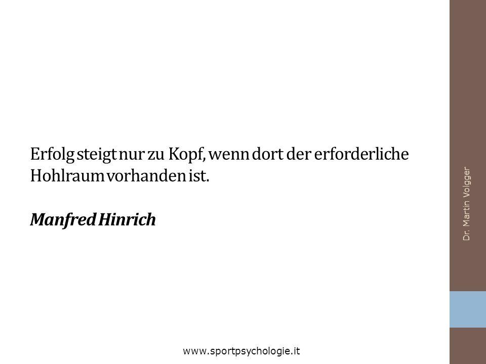 Erfolg steigt nur zu Kopf, wenn dort der erforderliche Hohlraum vorhanden ist. Manfred Hinrich