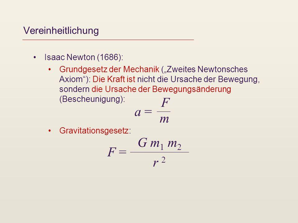 F a = m G m1 m2 F = r 2 Vereinheitlichung Isaac Newton (1686):