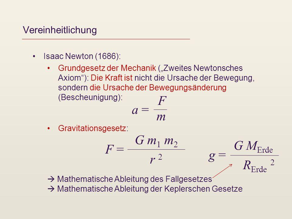 F a = m G m1 m2 G MErde F = g = r 2 RErde 2 Vereinheitlichung