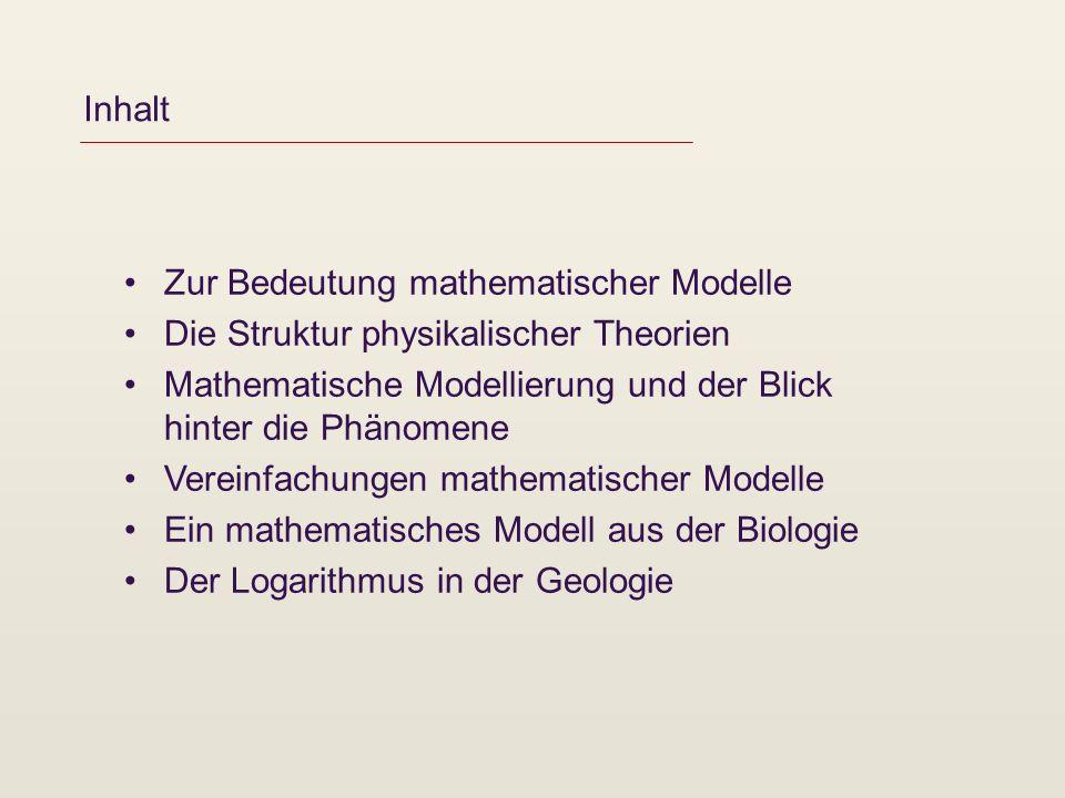 Inhalt Zur Bedeutung mathematischer Modelle. Die Struktur physikalischer Theorien. Mathematische Modellierung und der Blick hinter die Phänomene.