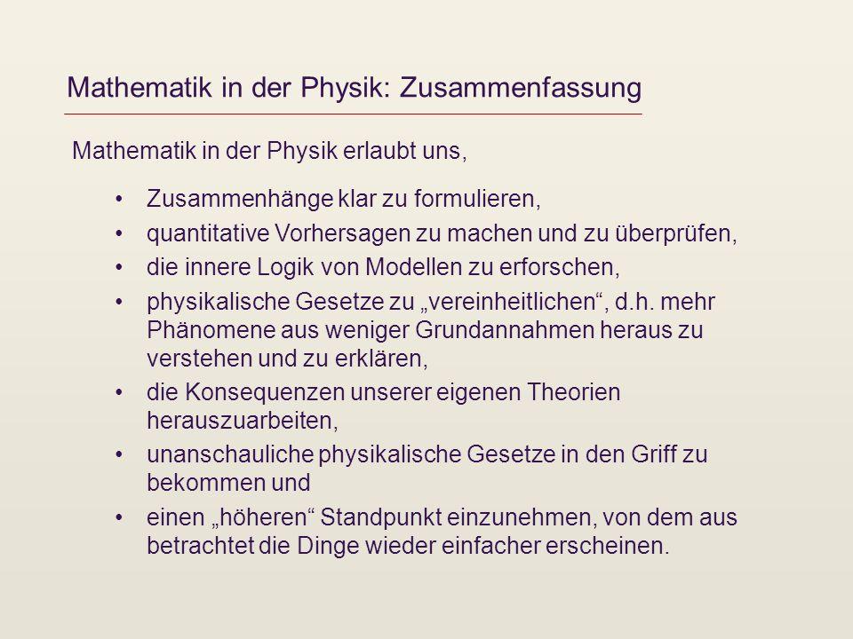 Mathematik in der Physik: Zusammenfassung