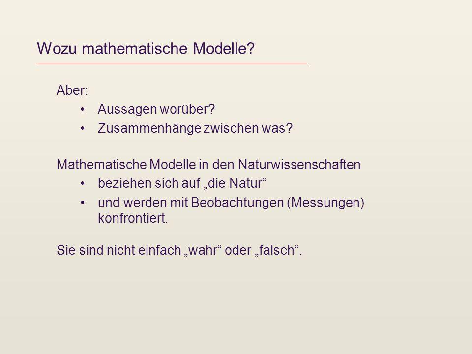 Wozu mathematische Modelle