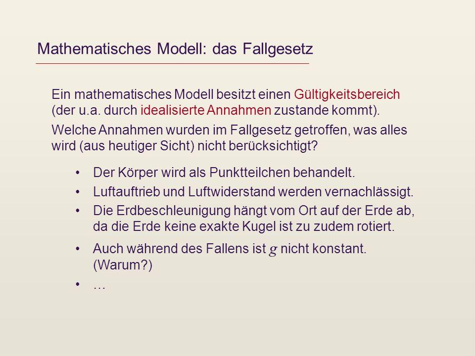Mathematisches Modell: das Fallgesetz