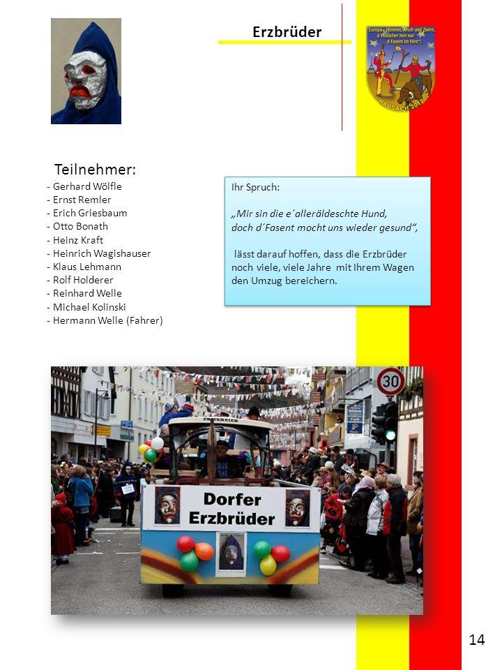 Erzbrüder Teilnehmer: Gerhard Wölfle Ernst Remler Erich Griesbaum