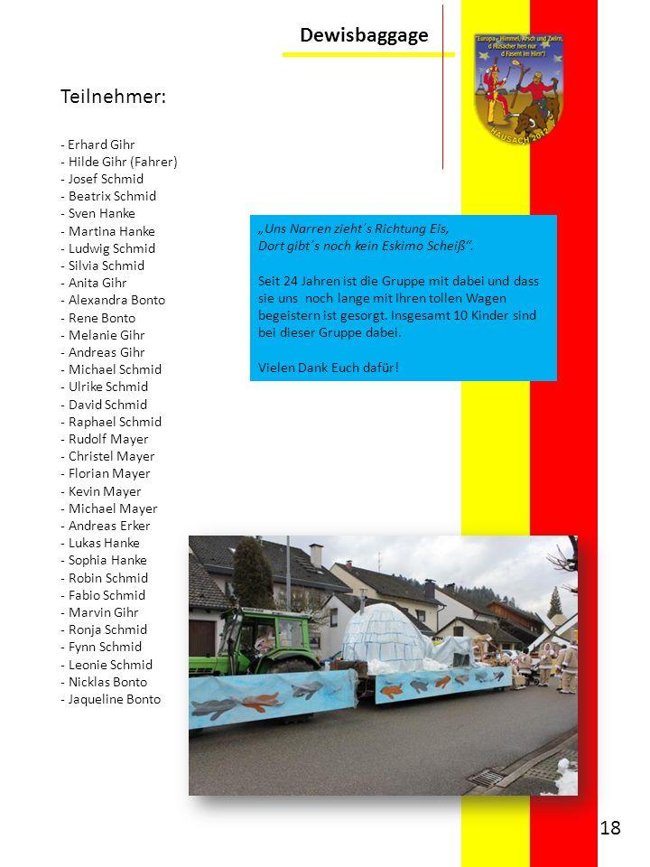 Dewisbaggage Teilnehmer: - Erhard Gihr Hilde Gihr (Fahrer)