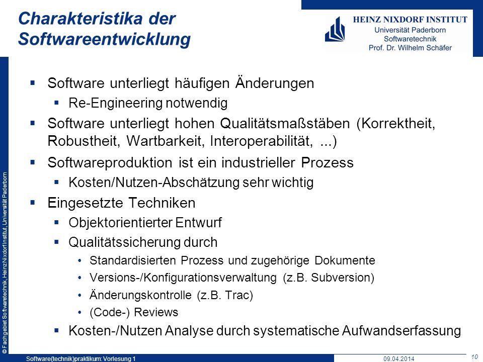 Charakteristika der Softwareentwicklung