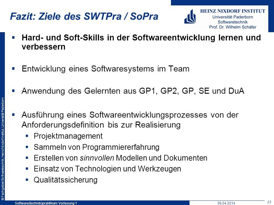 Fazit: Ziele des SWTPra / SoPra