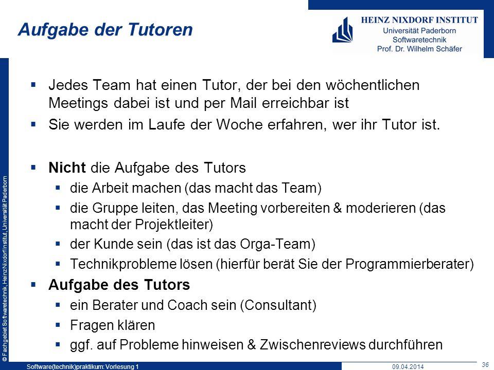 Softwaretechnikpraktikum: Vorlesung 1
