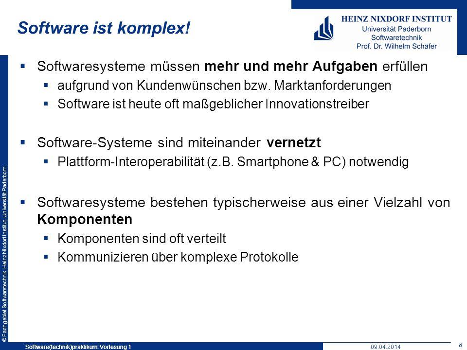 Software ist komplex! Softwaresysteme müssen mehr und mehr Aufgaben erfüllen. aufgrund von Kundenwünschen bzw. Marktanforderungen.