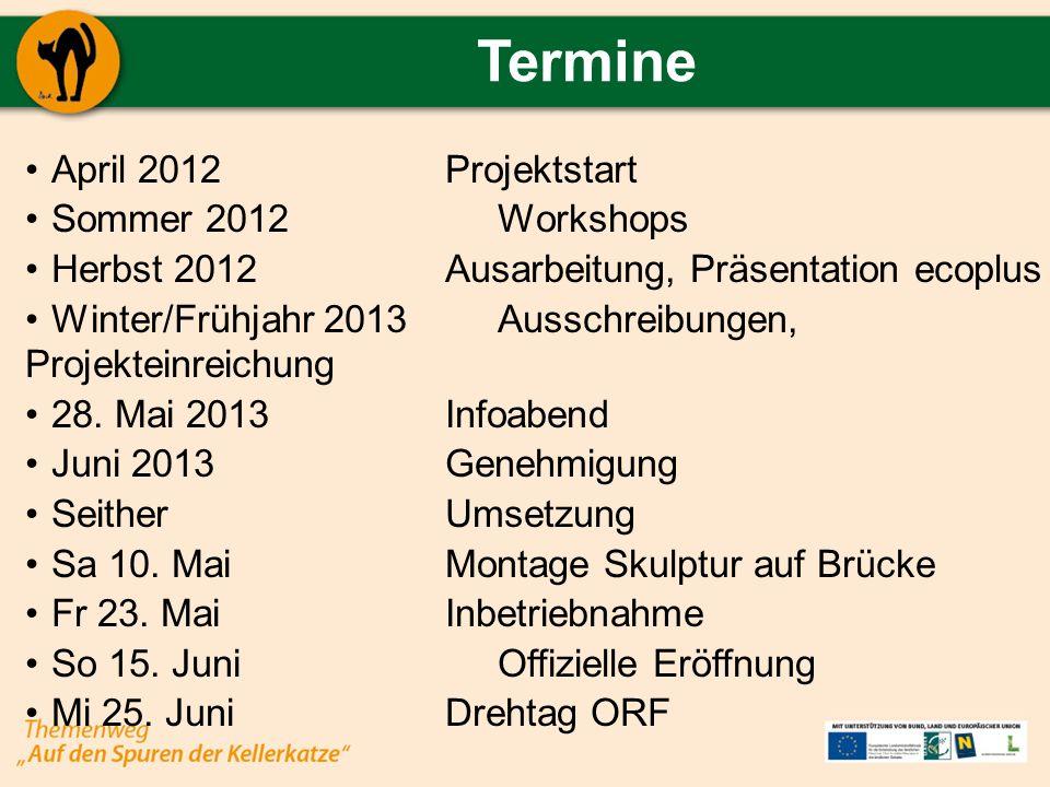 Termine April 2012 Projektstart Sommer 2012 Workshops