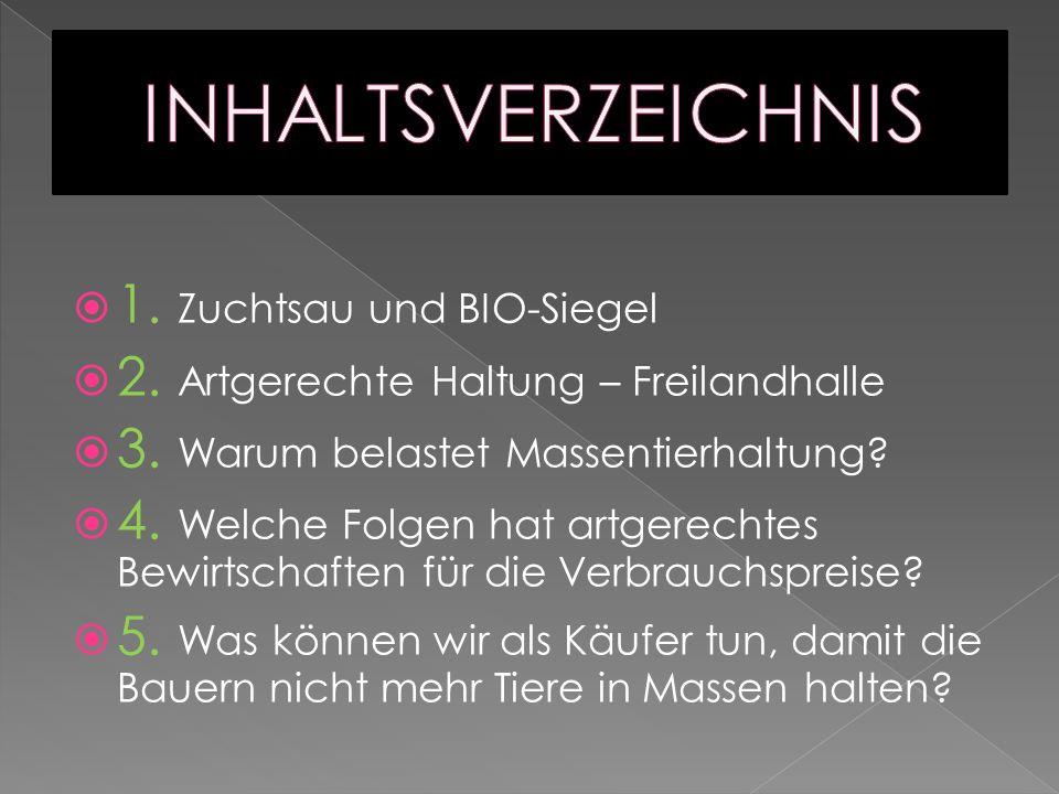 INHALTSVERZEICHNIS 1. Zuchtsau und BIO-Siegel