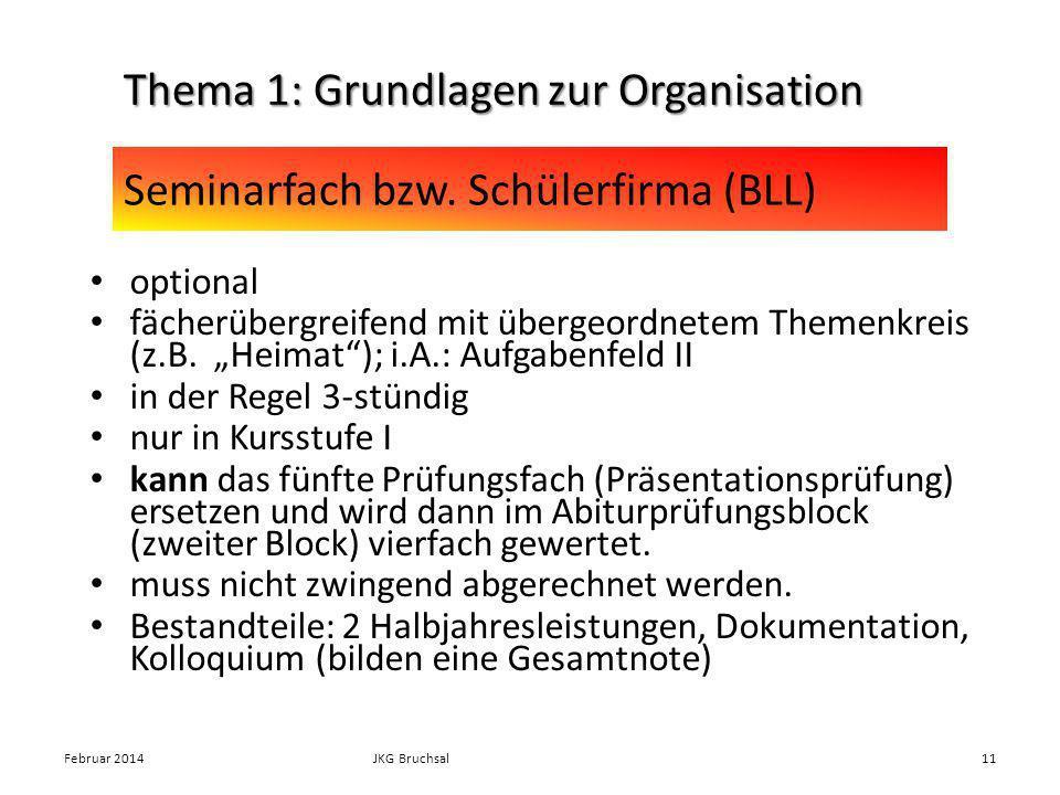 Seminarfach bzw. Schülerfirma (BLL)