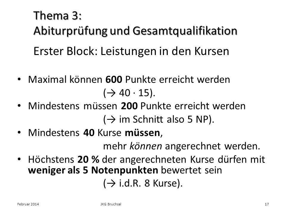 Erster Block: Leistungen in den Kursen