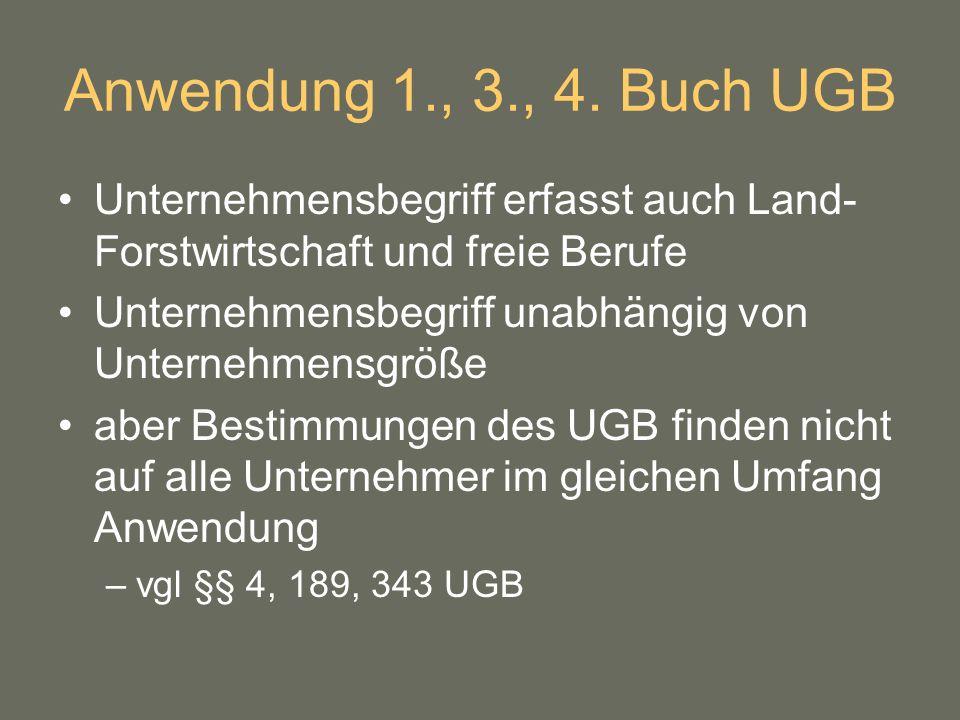Anwendung 1., 3., 4. Buch UGB Unternehmensbegriff erfasst auch Land-Forstwirtschaft und freie Berufe.