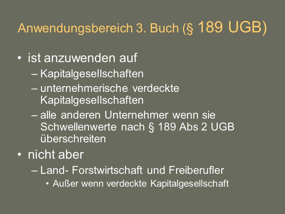 Anwendungsbereich 3. Buch (§ 189 UGB)
