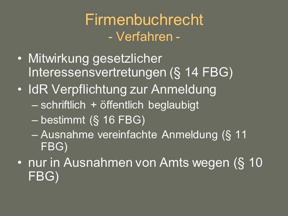 Firmenbuchrecht - Verfahren -
