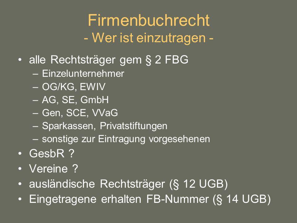 Firmenbuchrecht - Wer ist einzutragen -