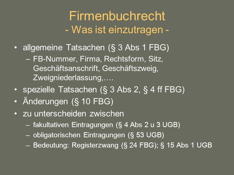 Firmenbuchrecht - Was ist einzutragen -