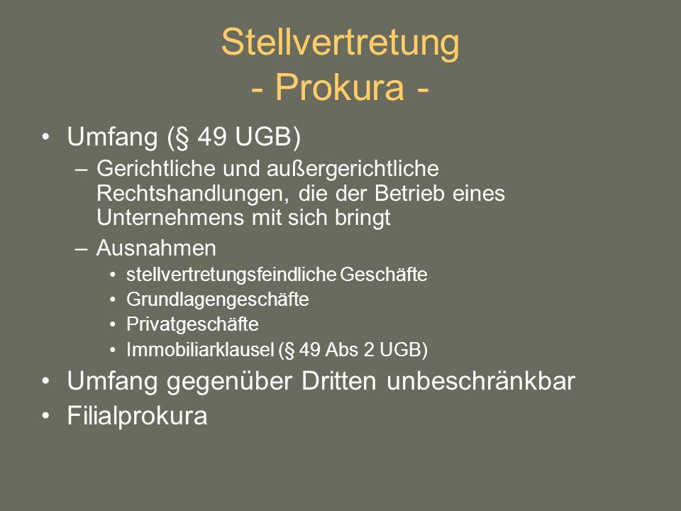 Stellvertretung - Prokura -