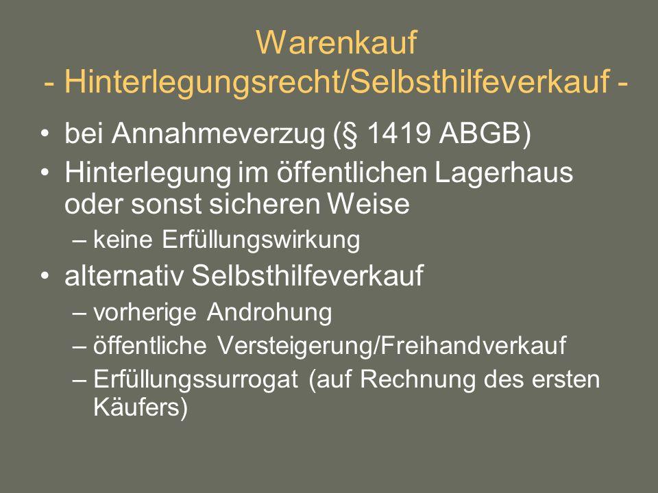 Warenkauf - Hinterlegungsrecht/Selbsthilfeverkauf -