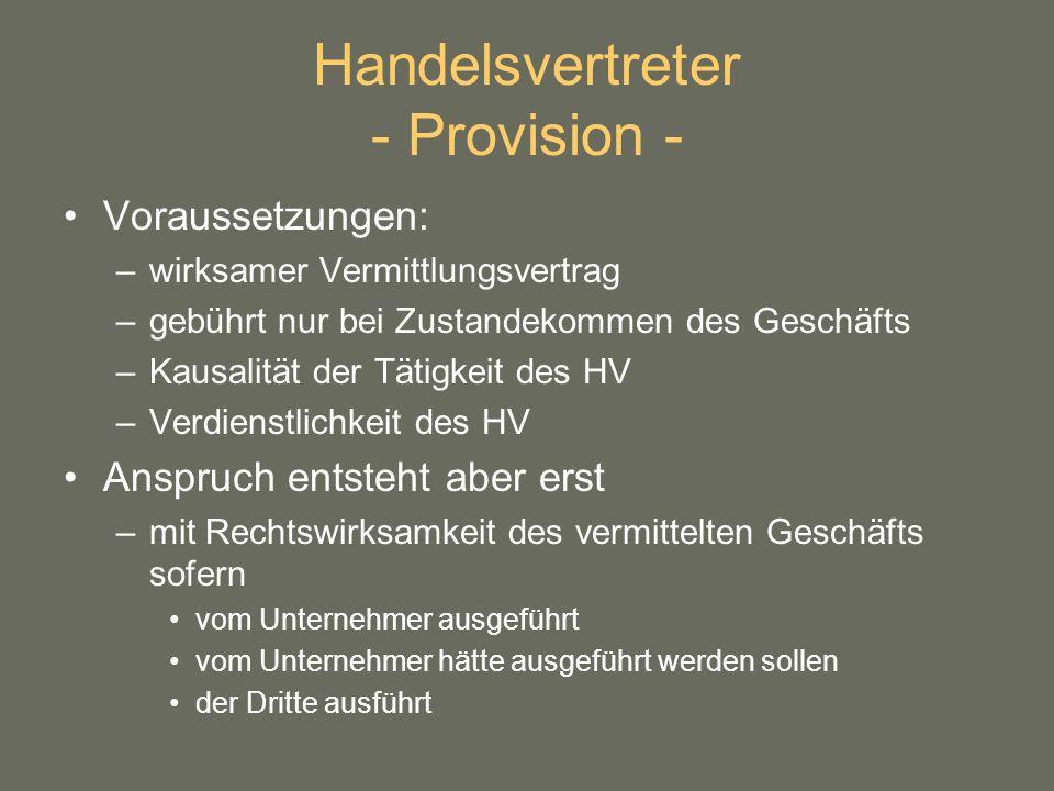 Handelsvertreter - Provision -