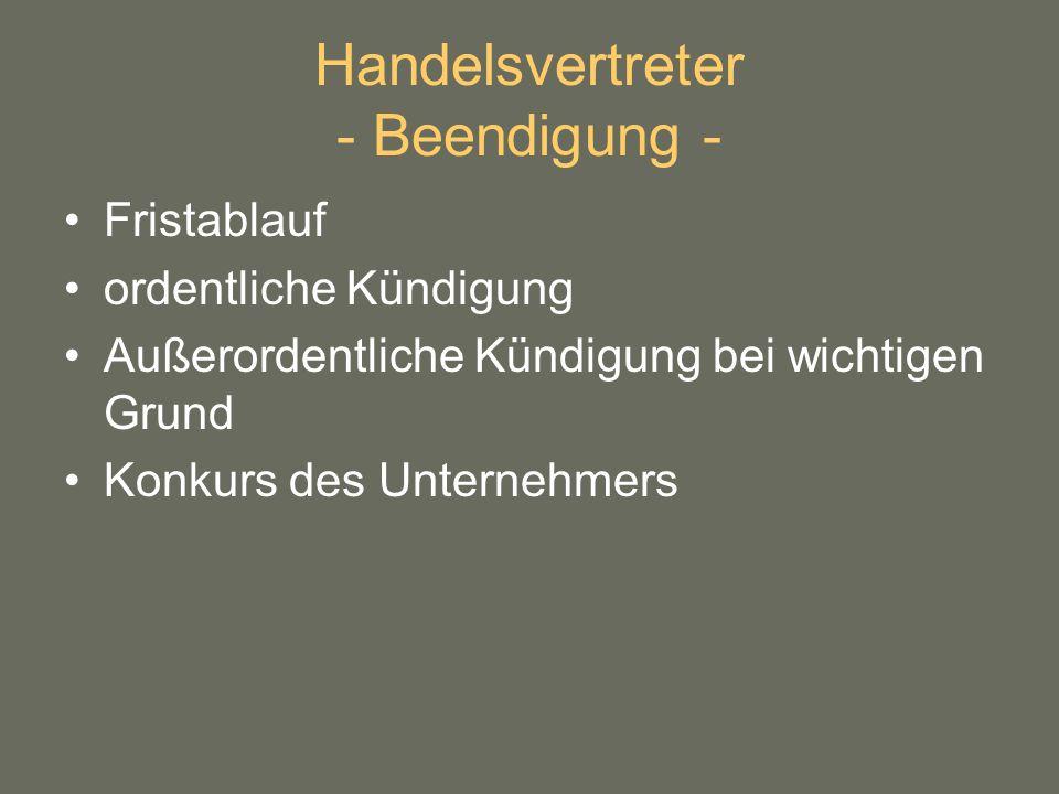 Handelsvertreter - Beendigung -