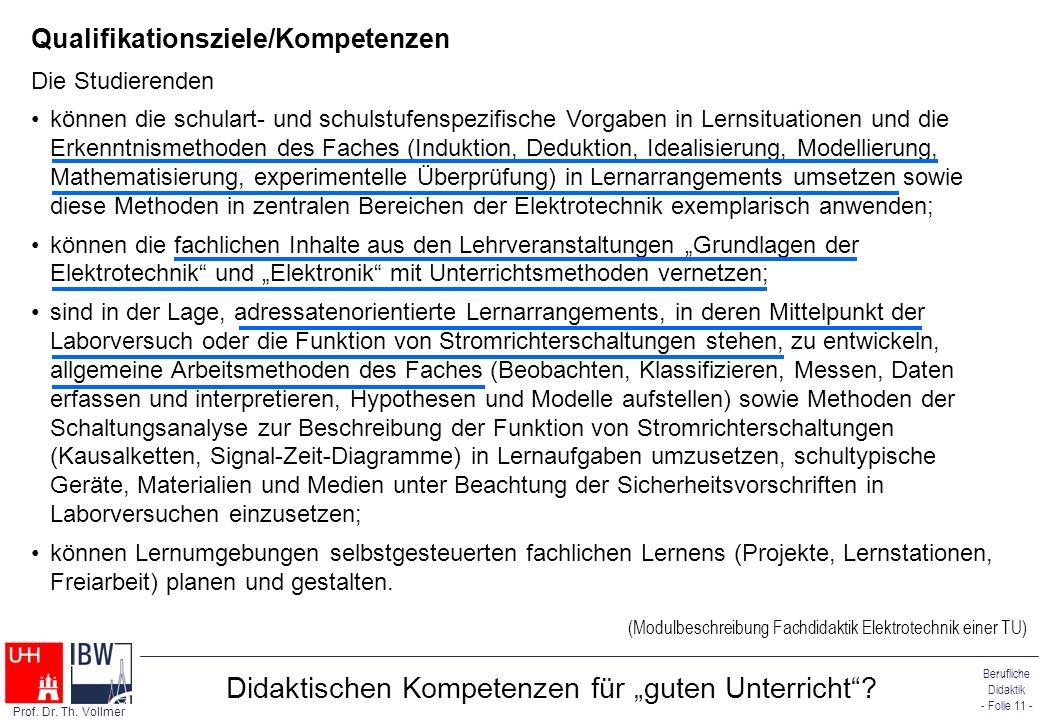 """Didaktischen Kompetenzen für """"guten Unterricht"""