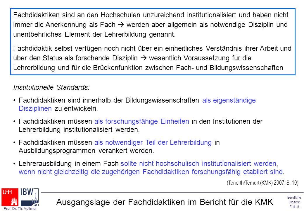 Ausgangslage der Fachdidaktiken im Bericht für die KMK