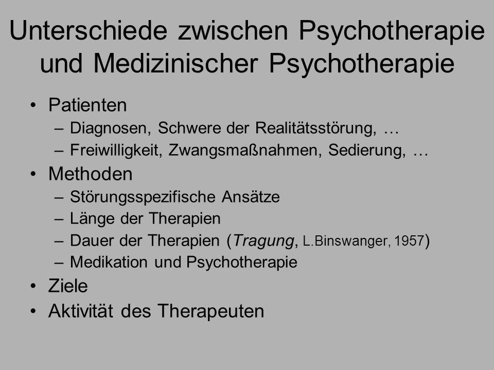 Unterschiede zwischen Psychotherapie und Medizinischer Psychotherapie