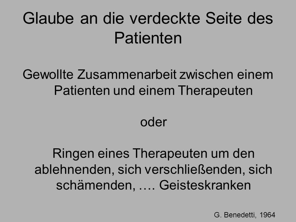 Glaube an die verdeckte Seite des Patienten