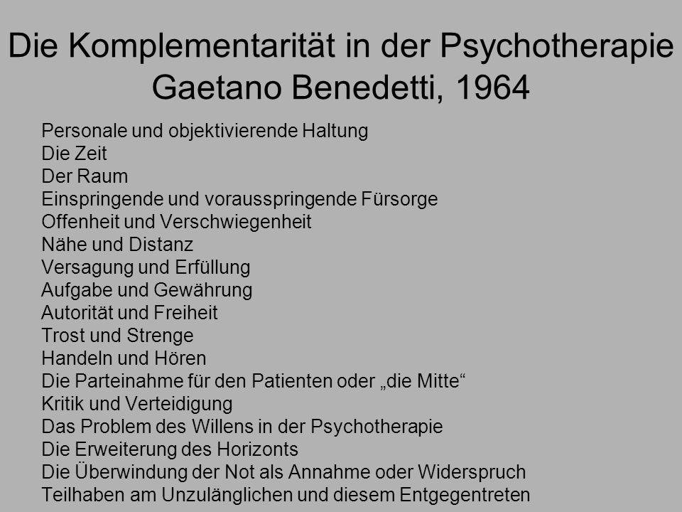 Die Komplementarität in der Psychotherapie Gaetano Benedetti, 1964
