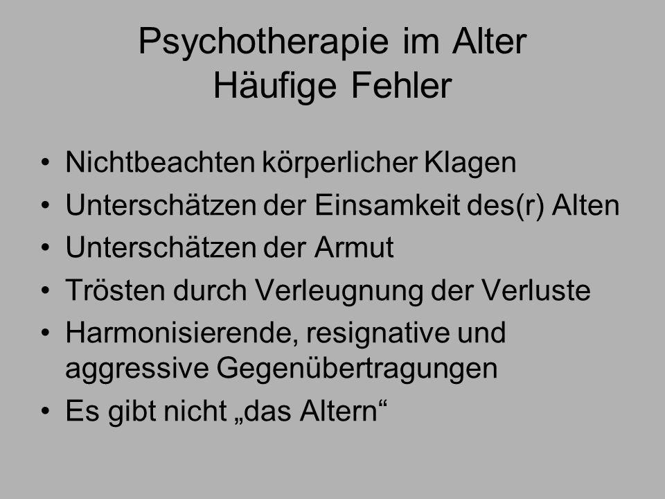 Psychotherapie im Alter Häufige Fehler