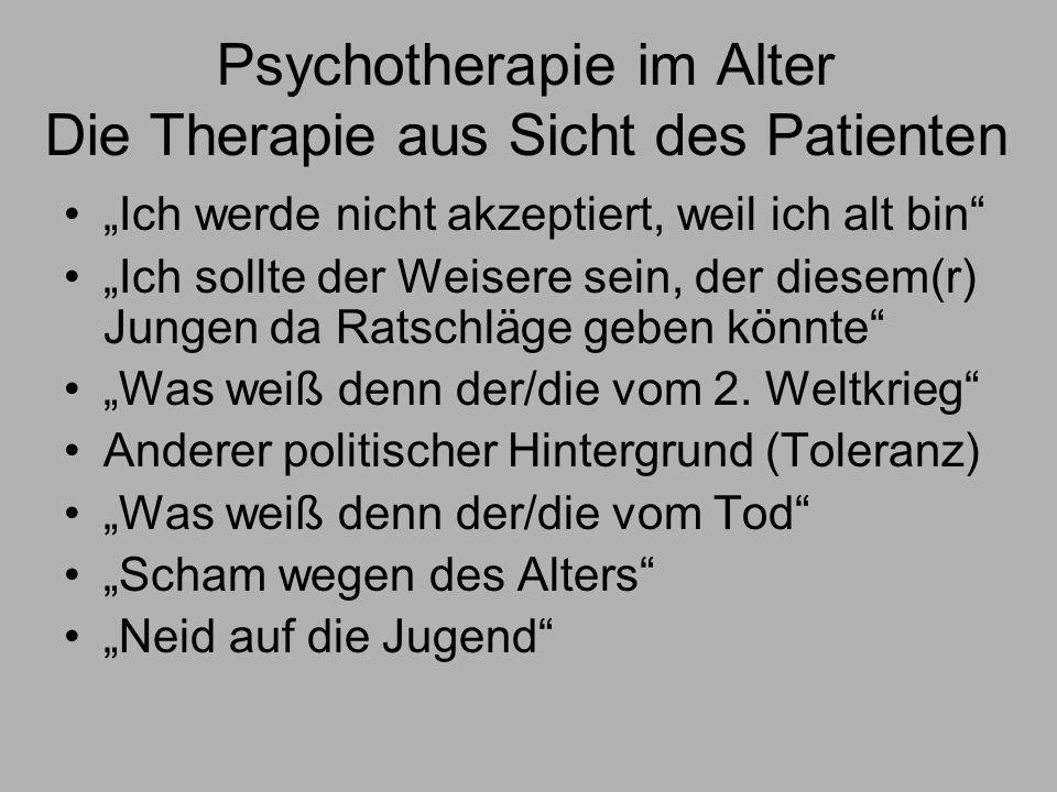 Psychotherapie im Alter Die Therapie aus Sicht des Patienten