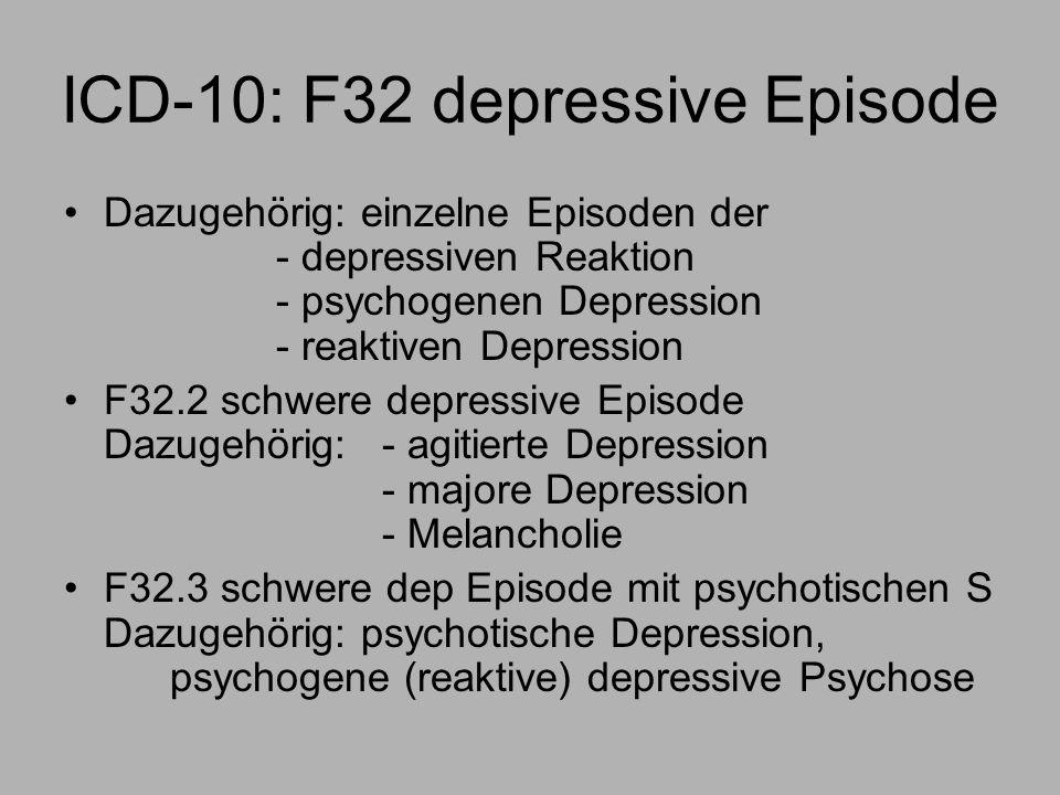 ICD-10: F32 depressive Episode