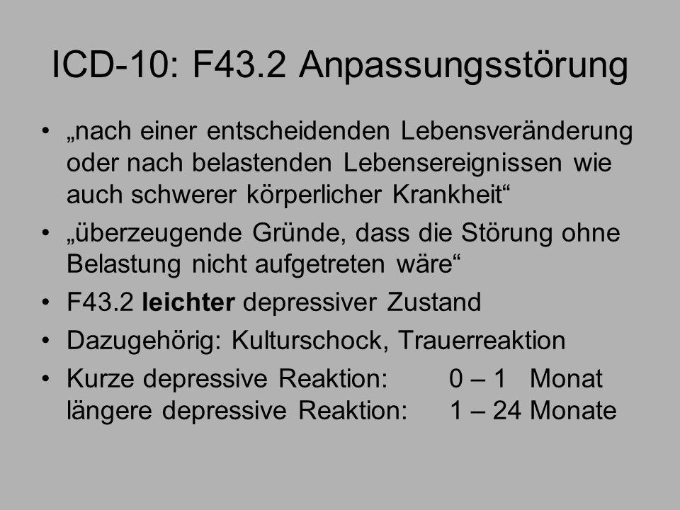 ICD-10: F43.2 Anpassungsstörung