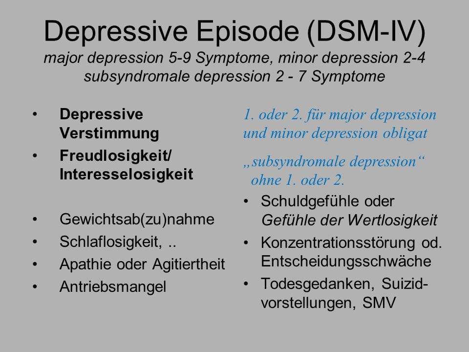 Depressive Episode (DSM-IV) major depression 5-9 Symptome, minor depression 2-4 subsyndromale depression 2 - 7 Symptome