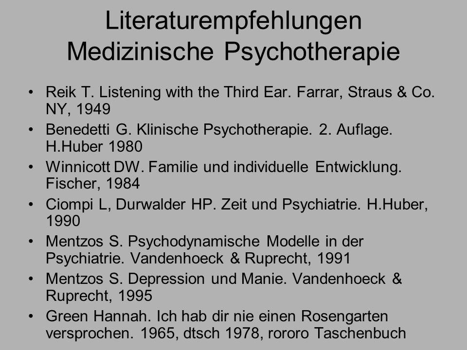 Literaturempfehlungen Medizinische Psychotherapie
