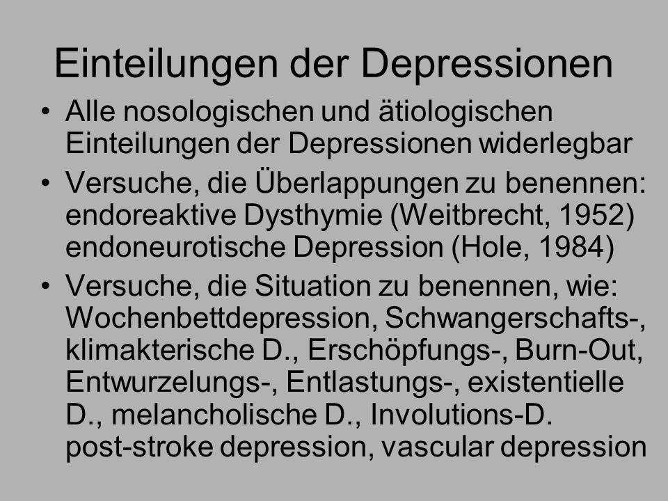 Einteilungen der Depressionen