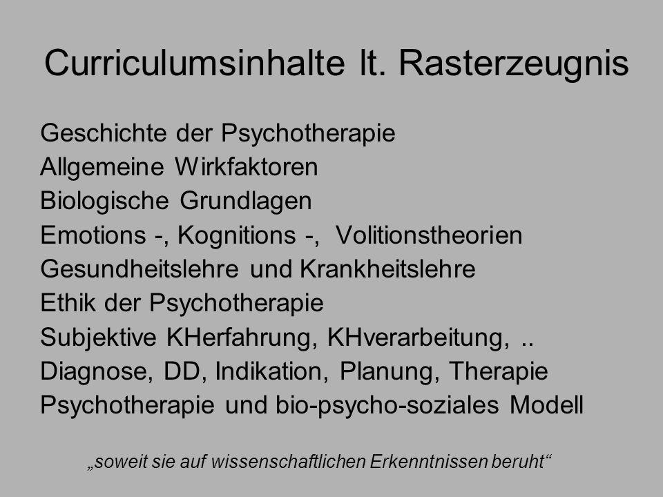 Curriculumsinhalte lt. Rasterzeugnis