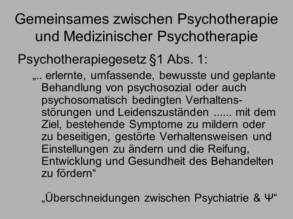 Gemeinsames zwischen Psychotherapie und Medizinischer Psychotherapie
