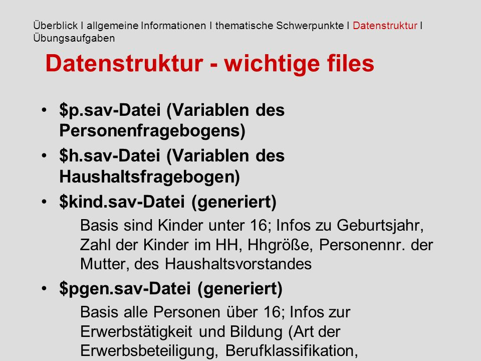 Datenstruktur - wichtige files